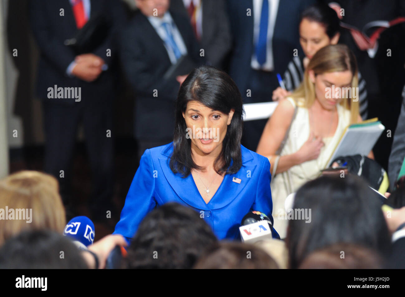 New York, USA. 17th May, 2017. Press conference of the US Ambassador to the UN, Nikki Haley, after the Security - Stock Image