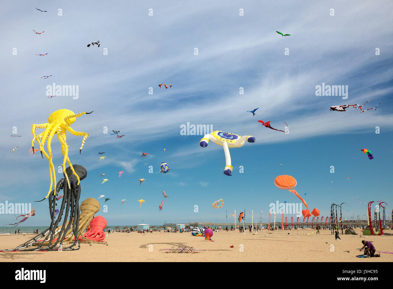 The kite festival (El Festival del viento) in Valencia, Spain - Stock Image