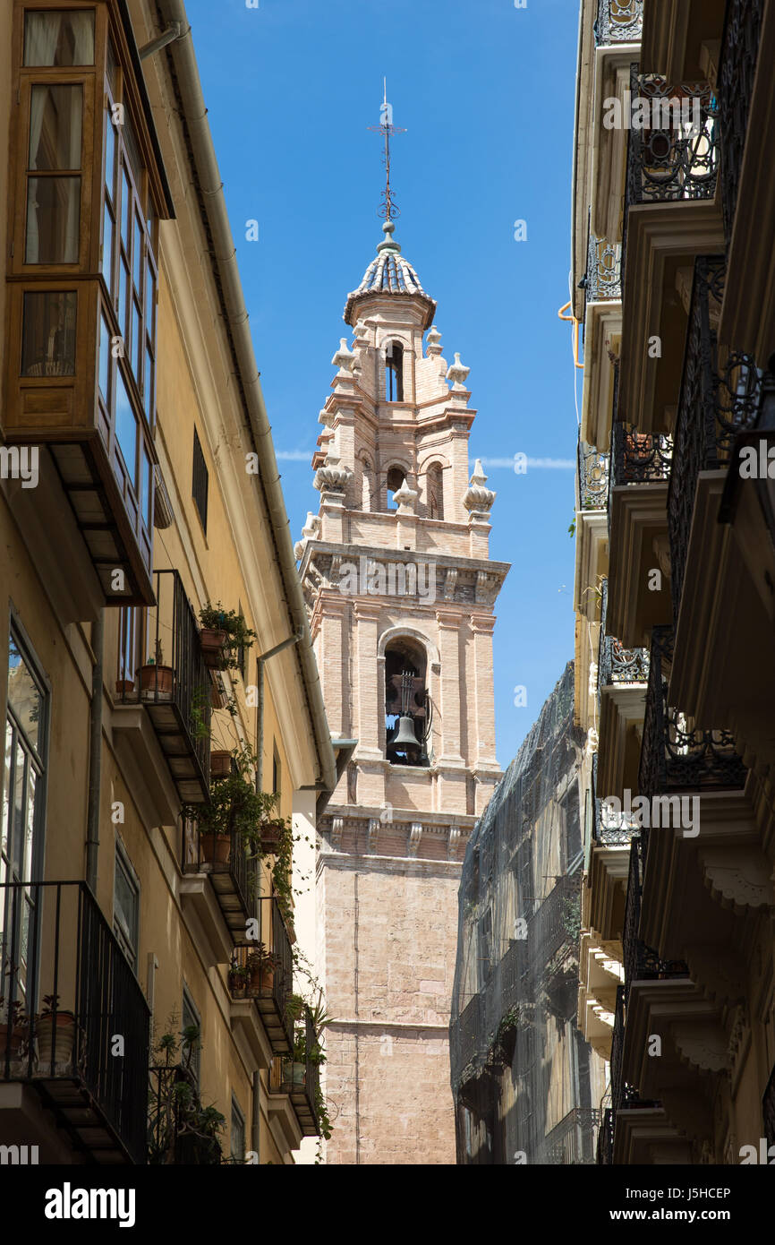 The Santa Catalina church bell tower in Valencia, Spain - Stock Image