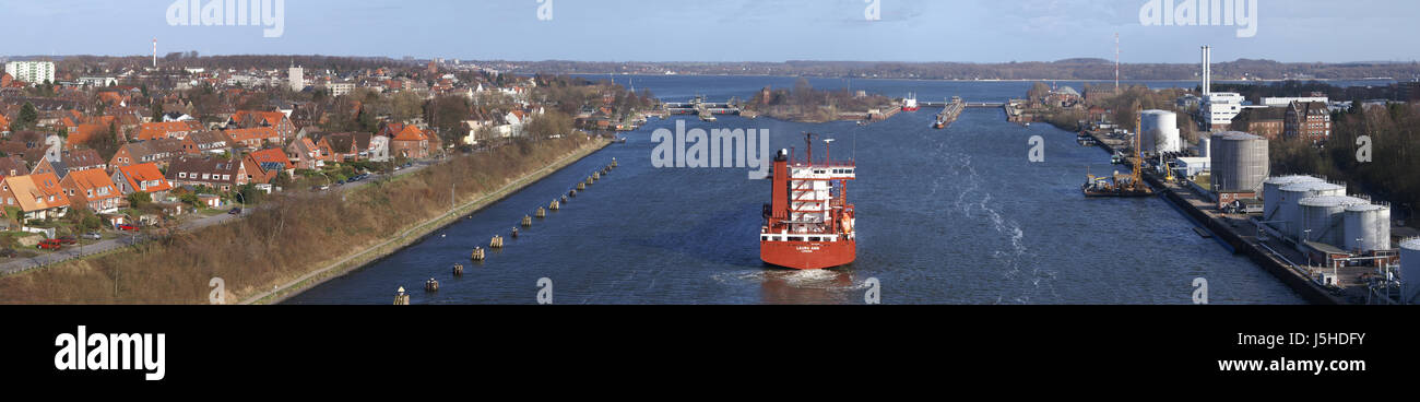 kiel canal - looking to lock Stock Photo