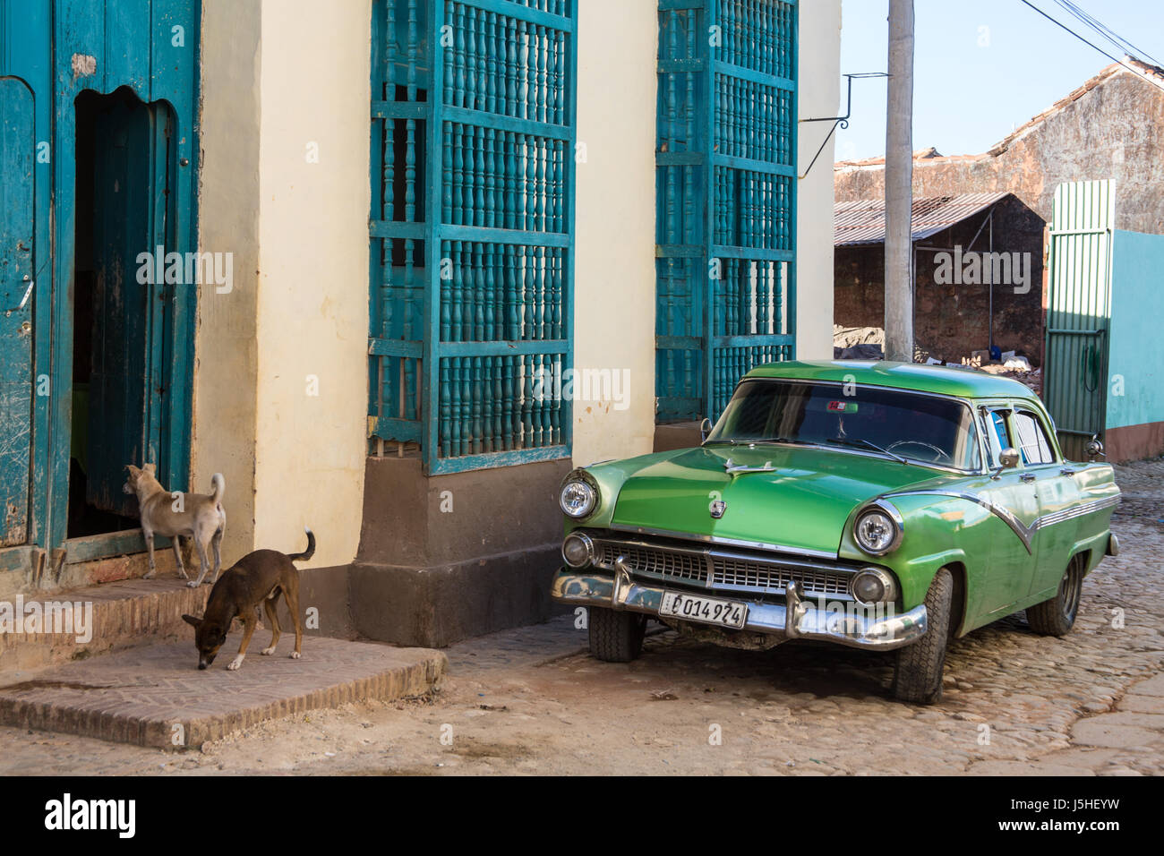 Classic american car on the street in Trinidad, Cuba - Stock Image