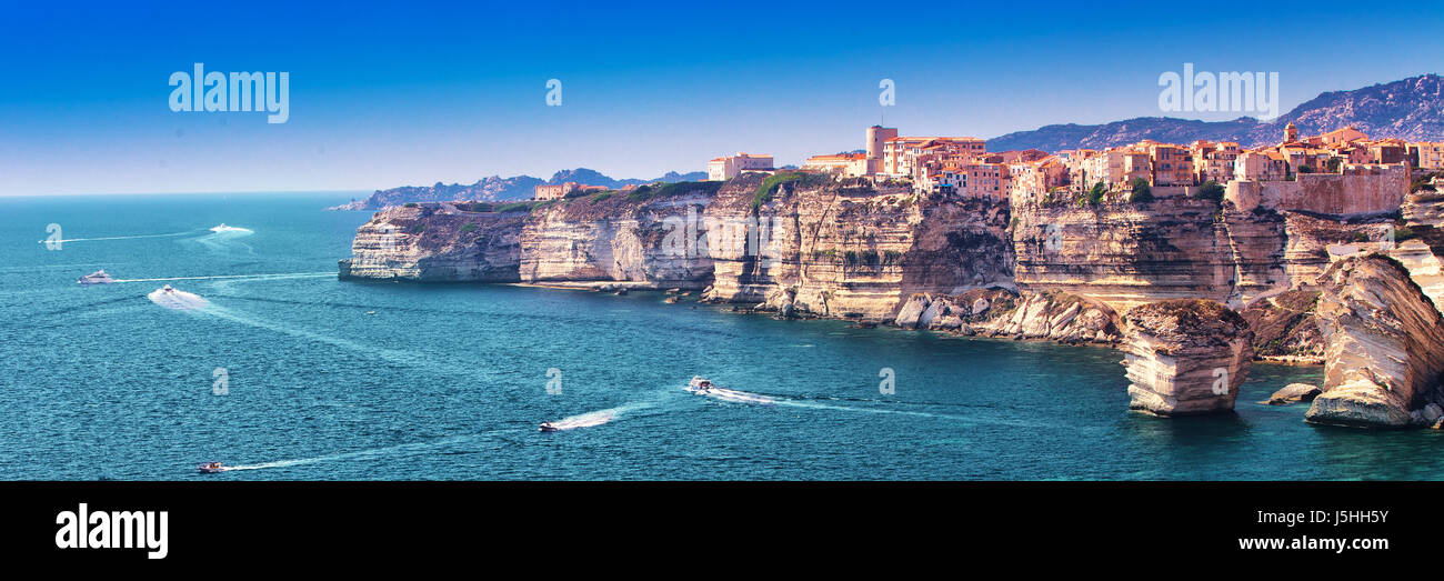 Bonifacio town on beautiful white rock cliff with sea bay, Corsica, France, Europe. - Stock Image