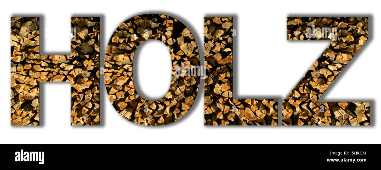 graphic wood word illustration topic logogram catchword material holzscheite Stock Photo