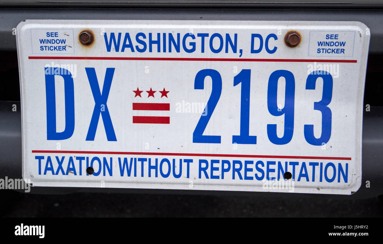 washington dc taxation without representation us state license plate - Stock Image