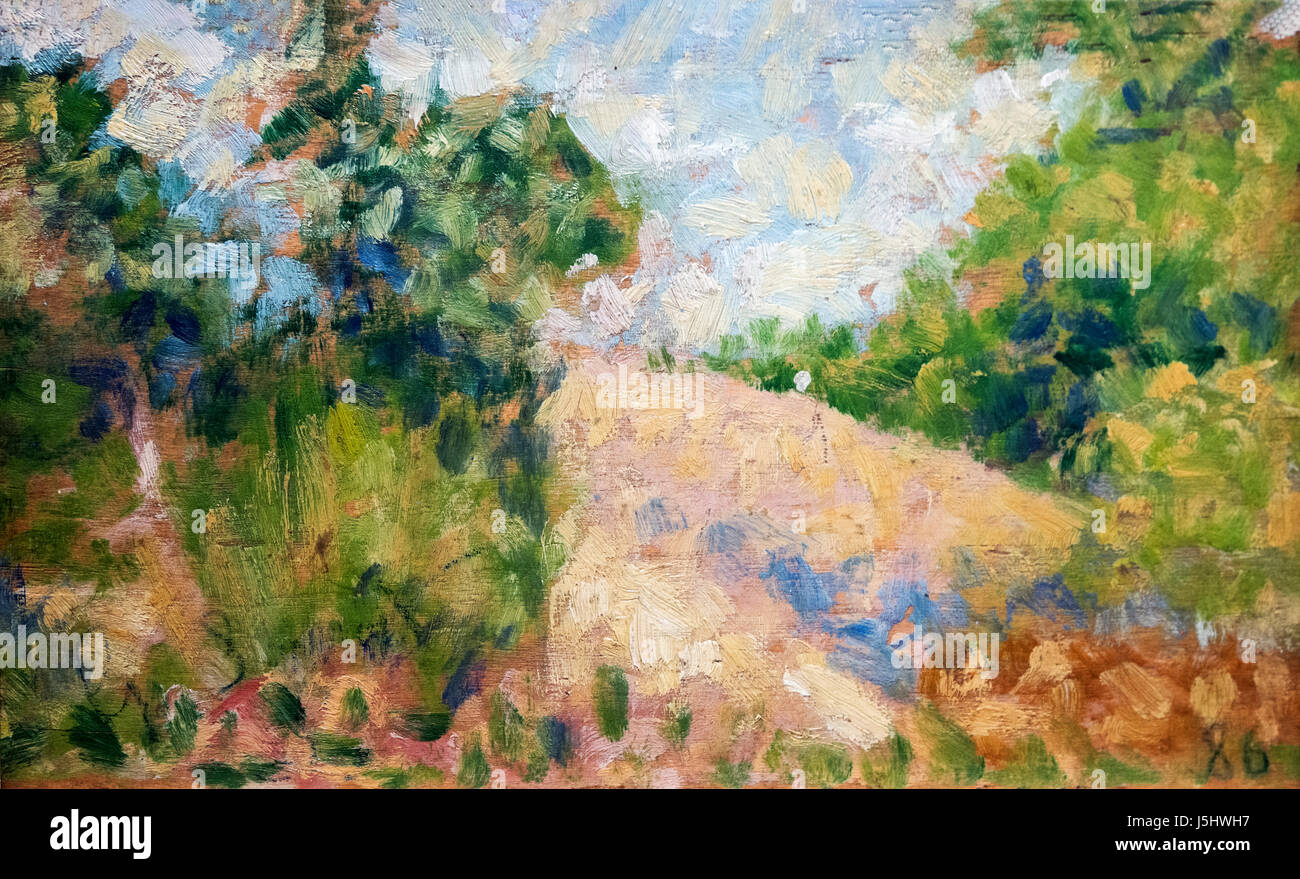 'Paysage Rose' by Georges Seurat  (1859-1891), oil on wood, c.1879 - Stock Image