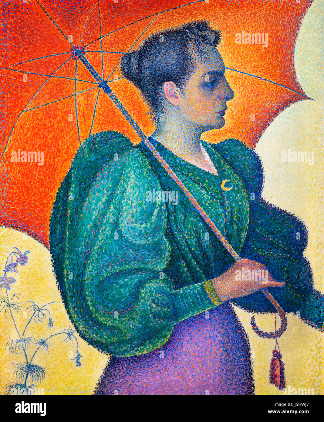 "Pointillism. ""La Femme a l'Ombrelle"" by Paul Signac (1863-1935), oil on canvas, 1893 Stock Photo"