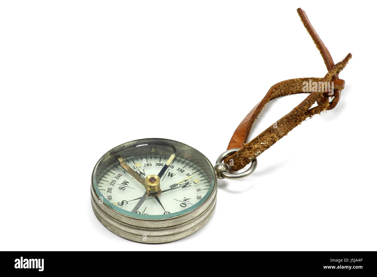 vintage portable compass isolated on white background - Stock Image