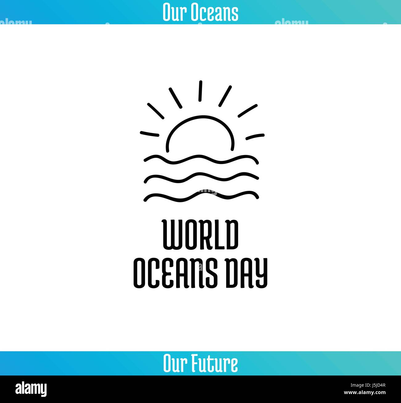 World Oceans Day, June 8. Promoting card with hand drawn doodle, vector line illustration. Sunset or sunrise over - Stock Vector
