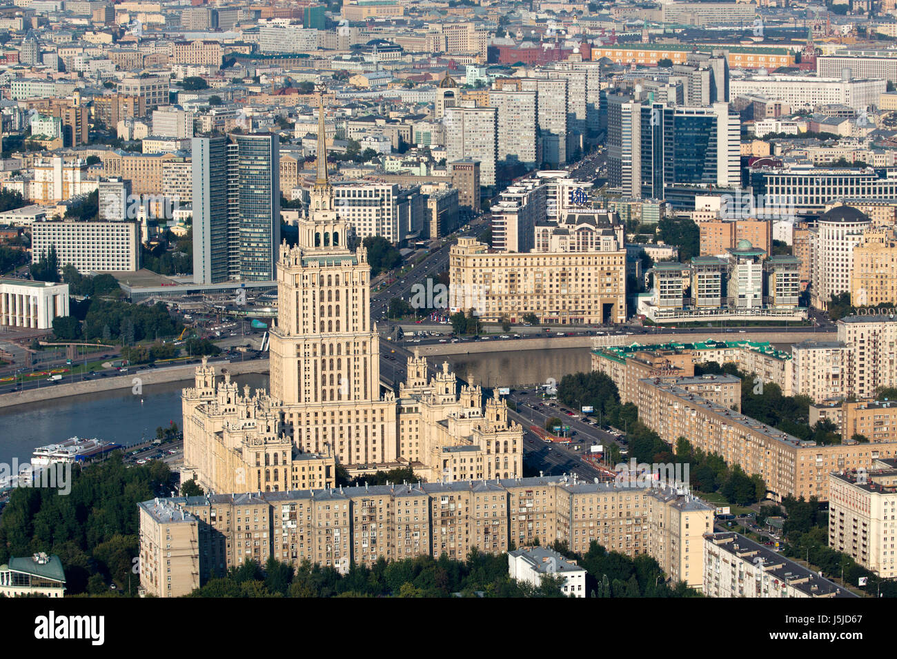 Aerial view of the Radisson Royal Hotel is a historic five-star luxury hotel in Moscow city centre, Russia - Stock Image