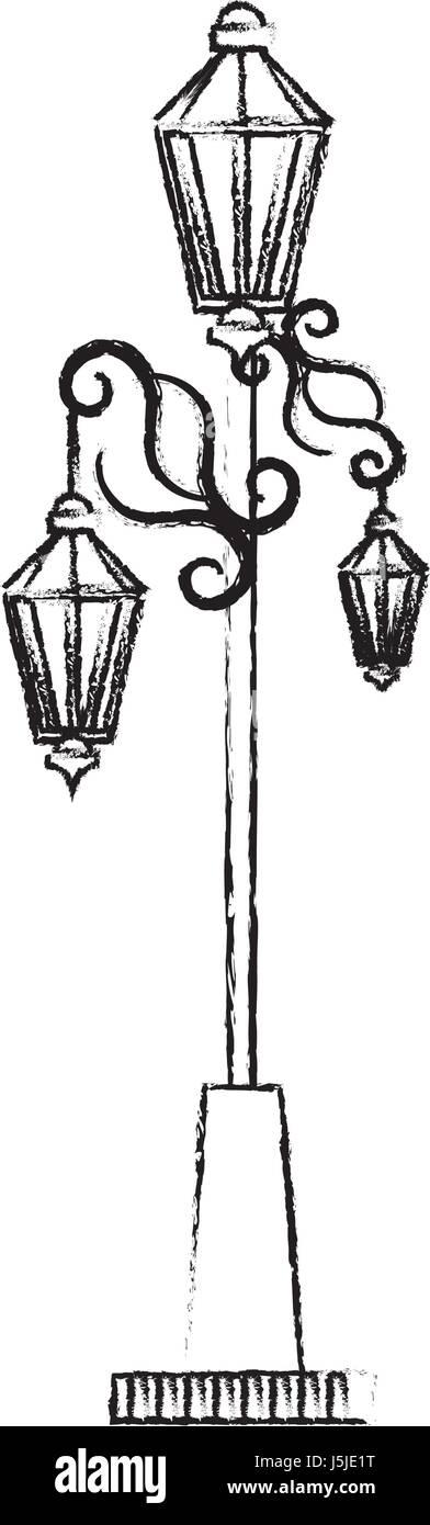 park lantern isolated icon - Stock Image