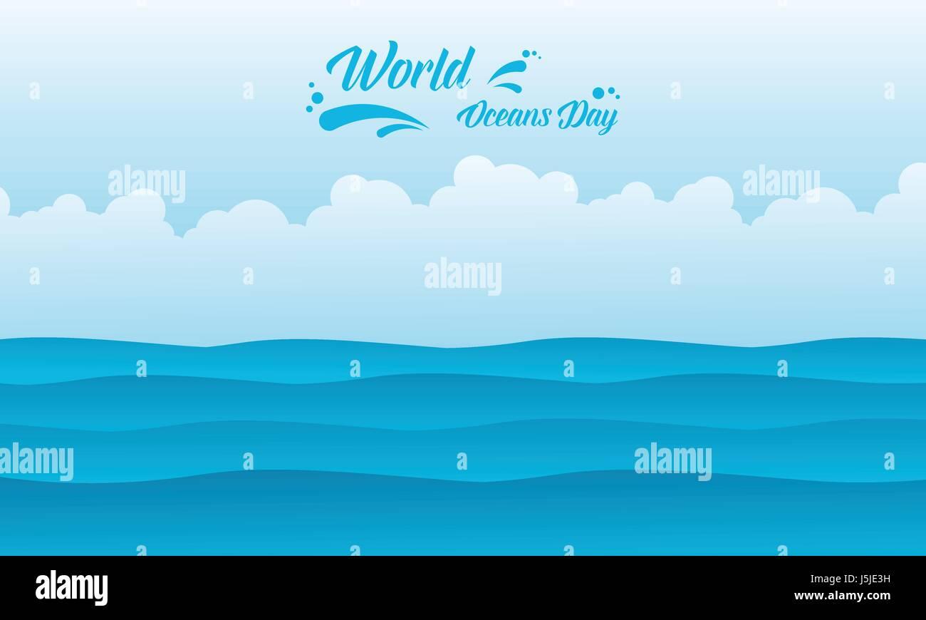 Background ocean day vector flat - Stock Image