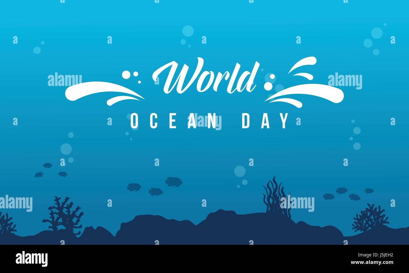 World ocean day background with underwater - Stock Image