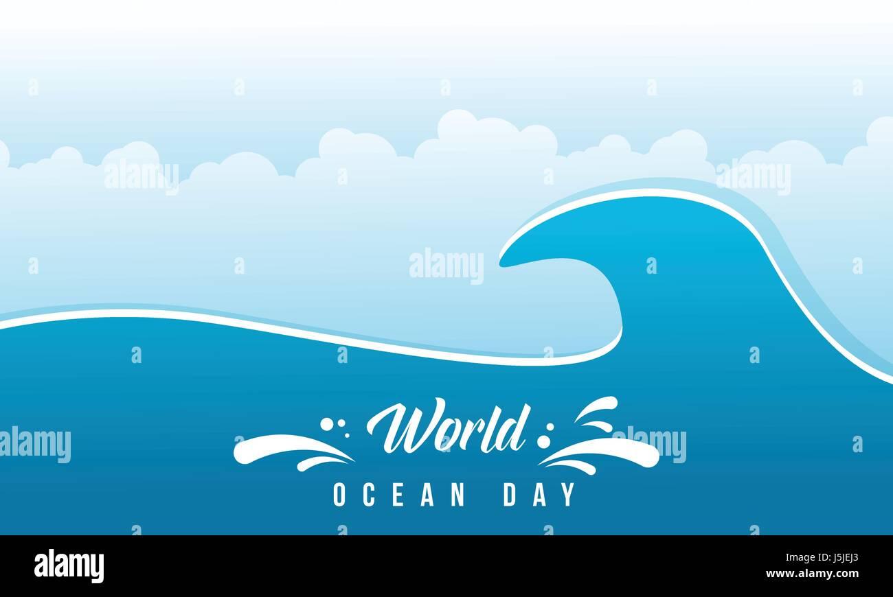 World ocean day vector flat design - Stock Vector
