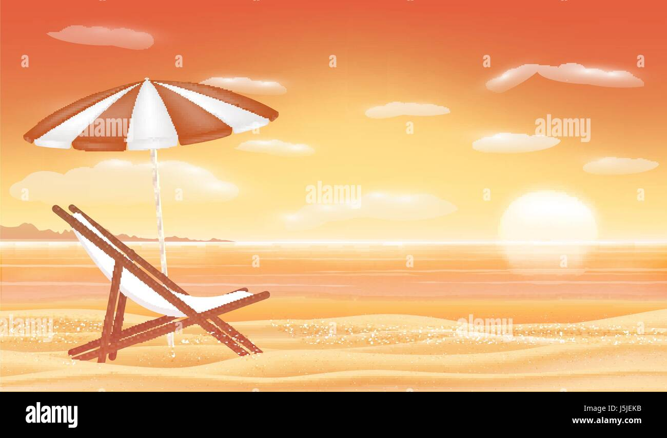 relax beach chair umbrella with sunset sea beach background Stock