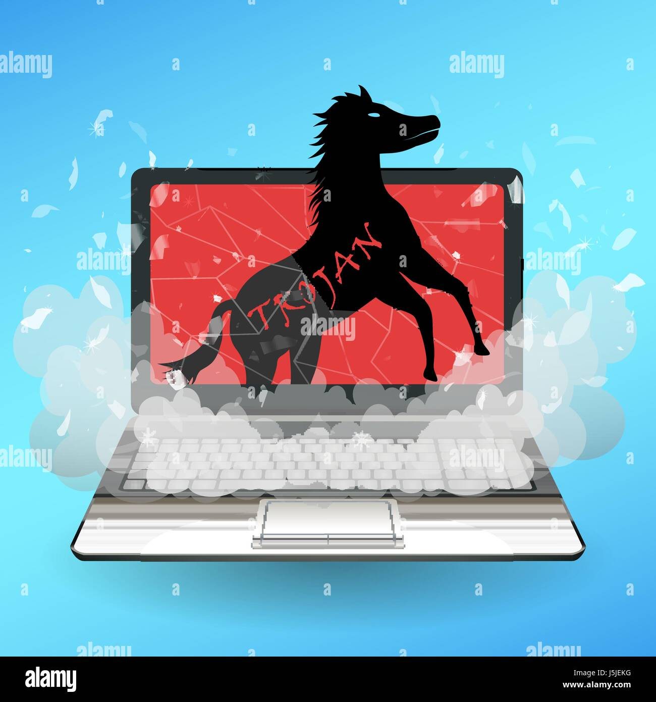 Trojan Horse Virus Computer Destroy Laptop Stock Vector Image Art Alamy