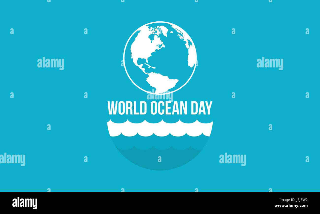 Banner style world ocean day vector flat - Stock Image