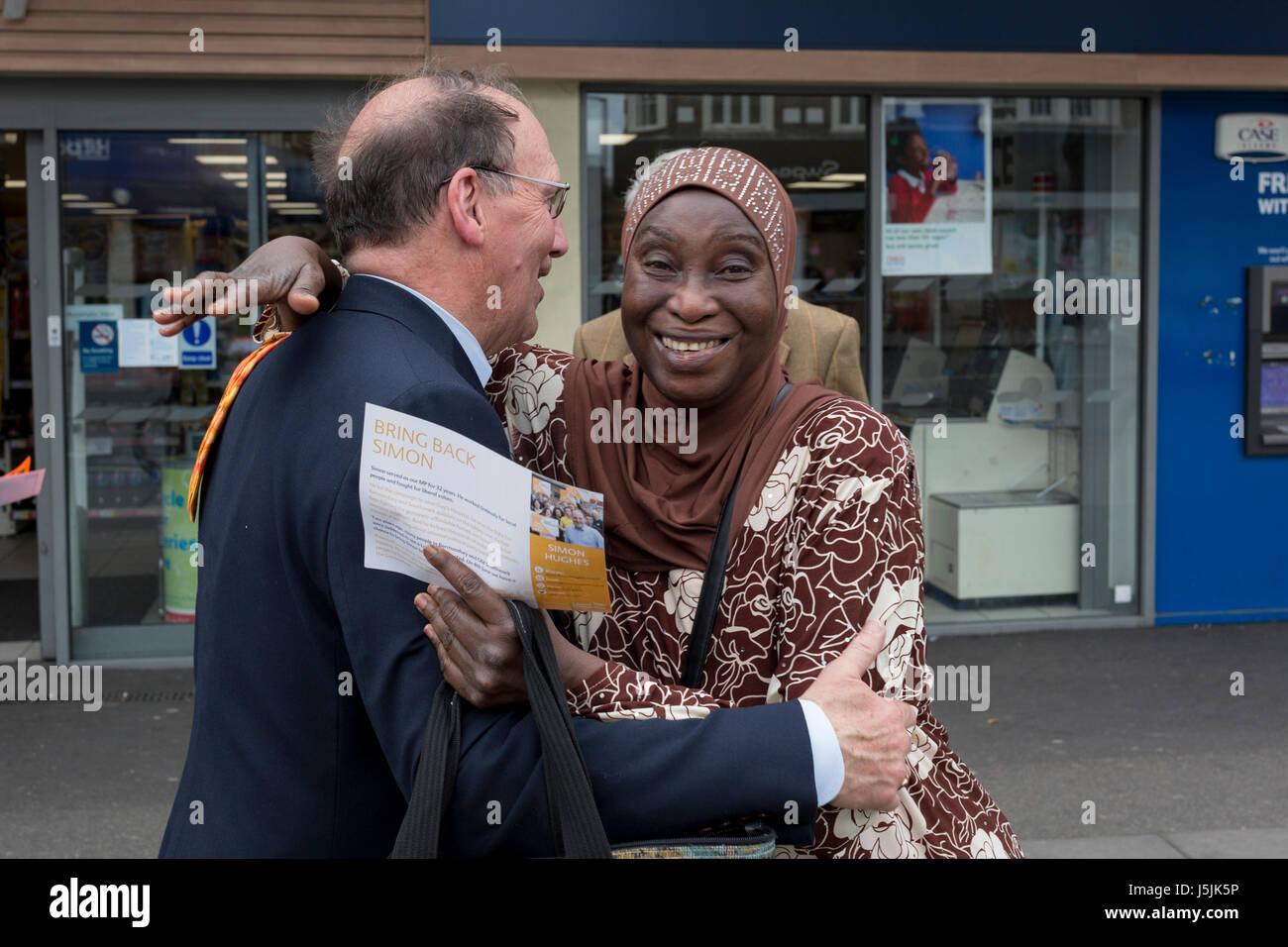 The former Liberal Democrat MP, Simon Hughes canvasses local support in the hope of regaining his seat in the forthcoming - Stock Image