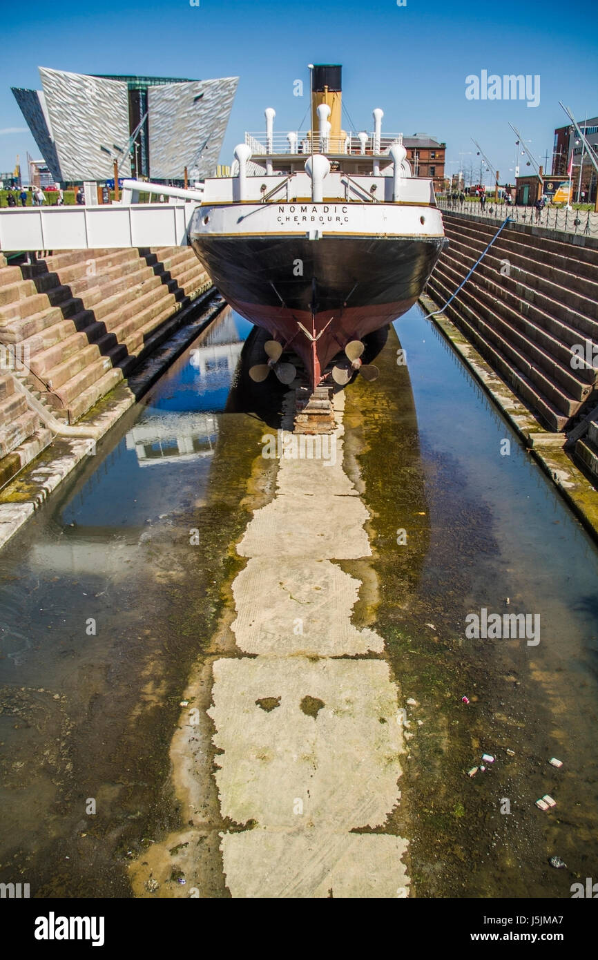 The SS Nomadic and Titanic Belfast museum Northern Ireland UK - Stock Image