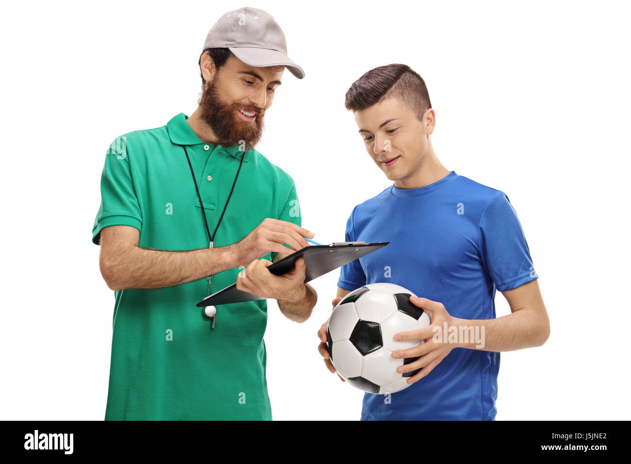366e9b3e5 Soccer coach advising a teenage player isolated on white background - Stock  Image