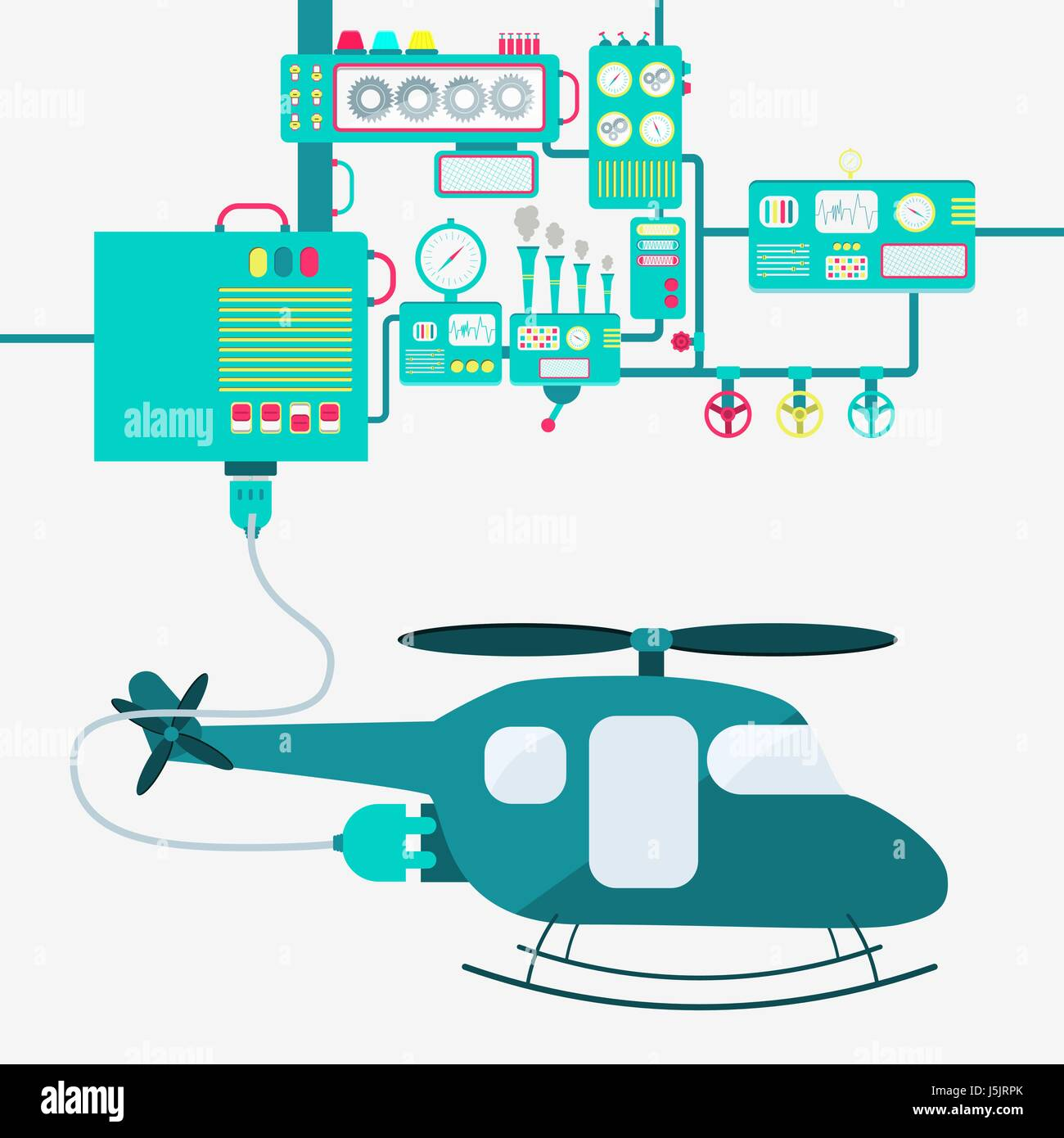 Electric supply of a helicopter. Machinery producing electrical energy. - Stock Vector