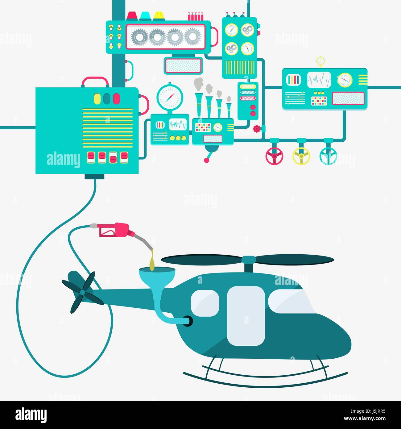 Machinery of factory refining gasoline and refueling a helicopter. Copter being fueled by a gas pump. - Stock Vector