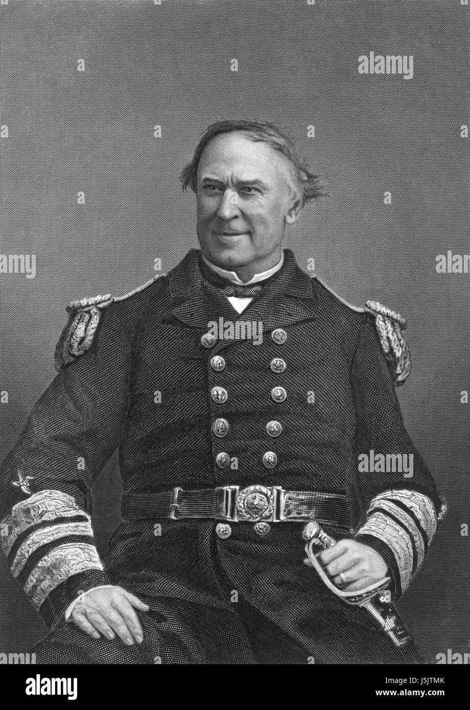 David G. Farragut (1801-70), American Admiral, U.S. Navy, Portrait, late 1860's - Stock Image