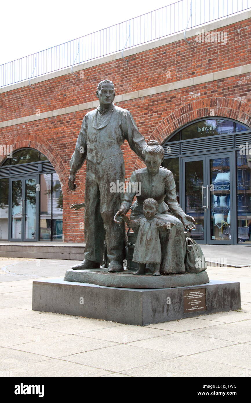 'Commitment of the Europeans' sculpture, Broad Street, Old Town, Portsmouth, Hampshire, England, Great Britain, - Stock Image