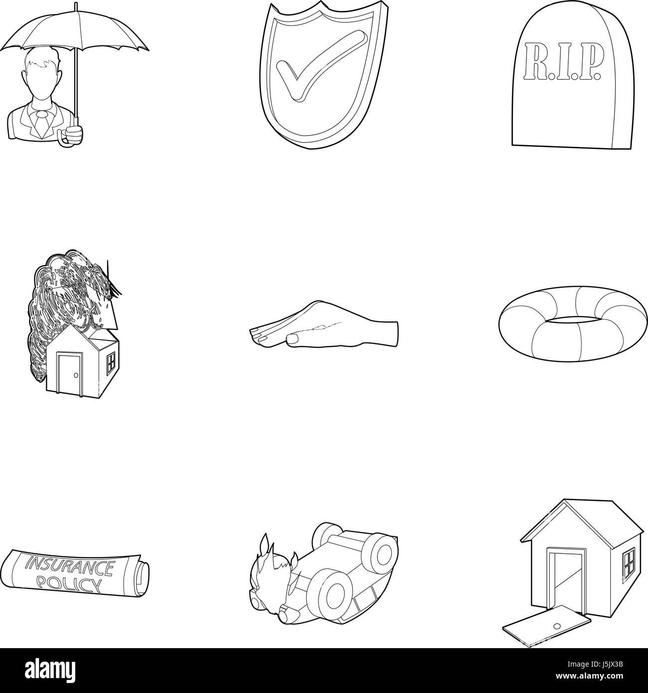 Crash icons set, outline style - Stock Image