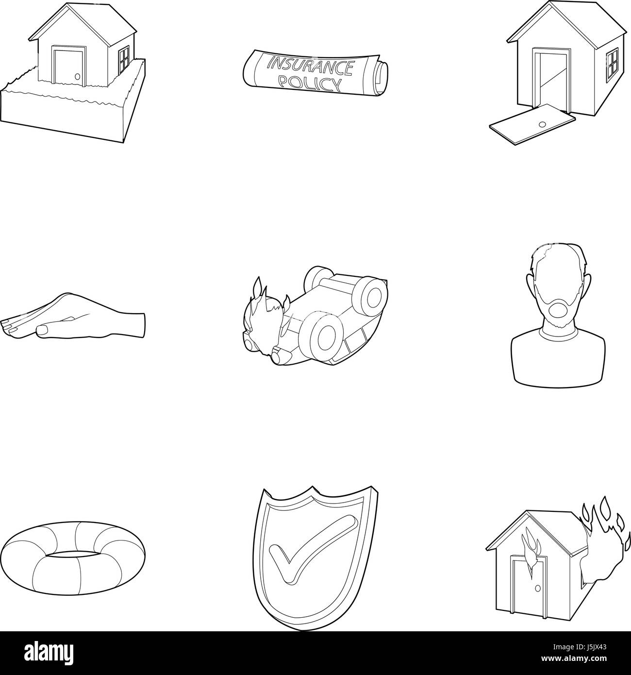 Incident icons set, outline style - Stock Image