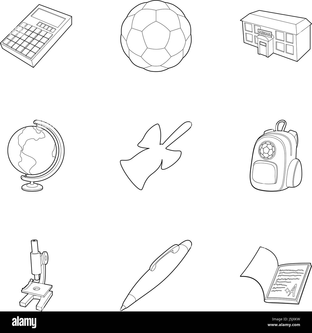 Children education icons set, outline style Stock Vector