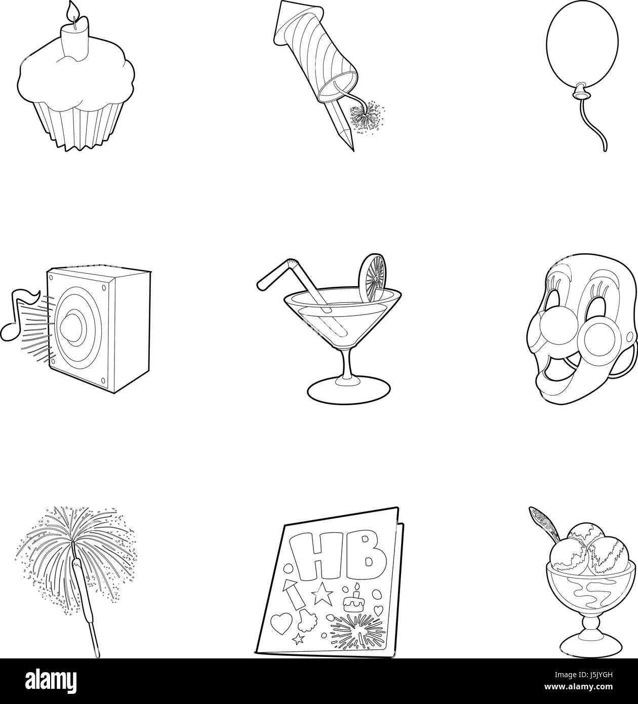 Birthday icons set, outline style - Stock Image