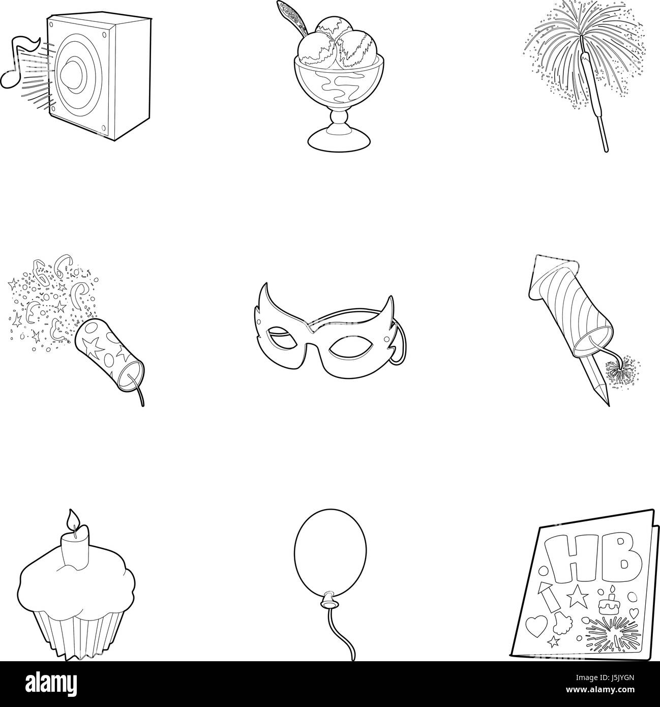 Holiday birthday icons set, outline style - Stock Image