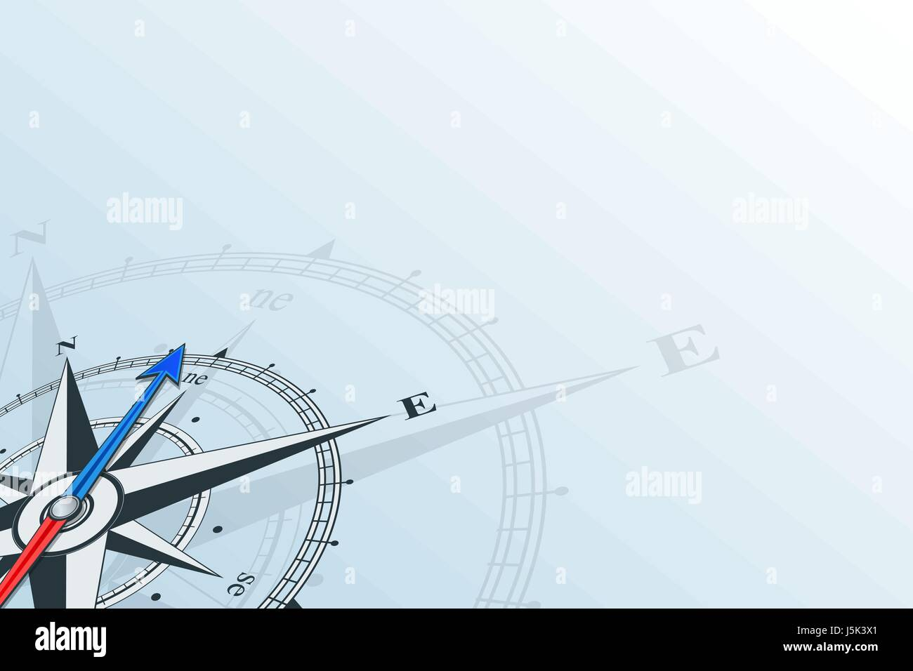 Compass northeast. Compass with wind rose, the arrow points to the northeast. Compass on a blue background. - Stock Vector