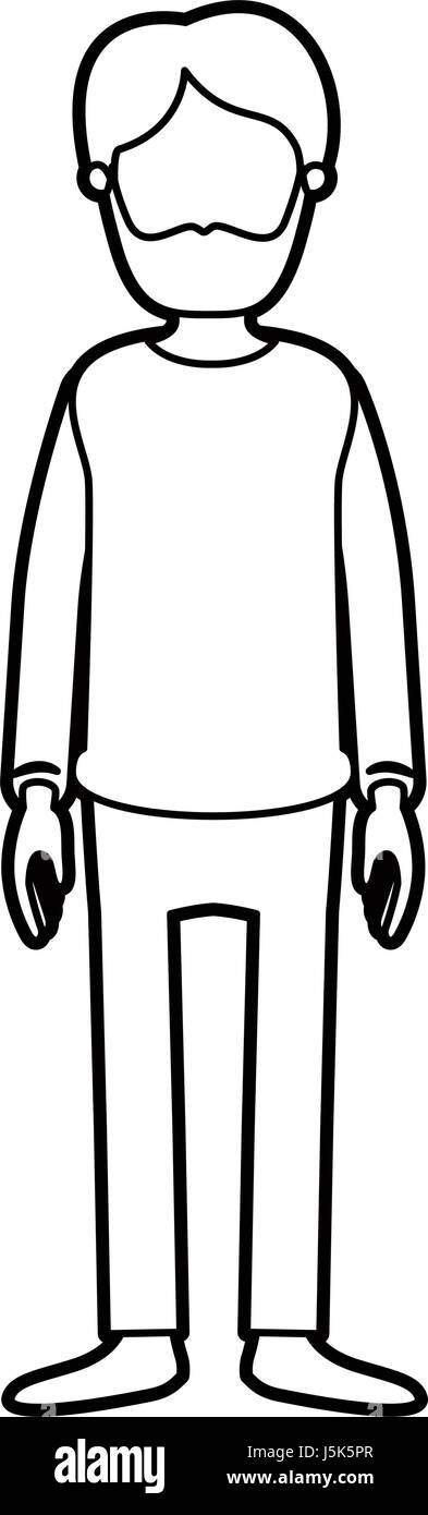 black thick contour caricature faceless full body man bearded with clothing - Stock Image