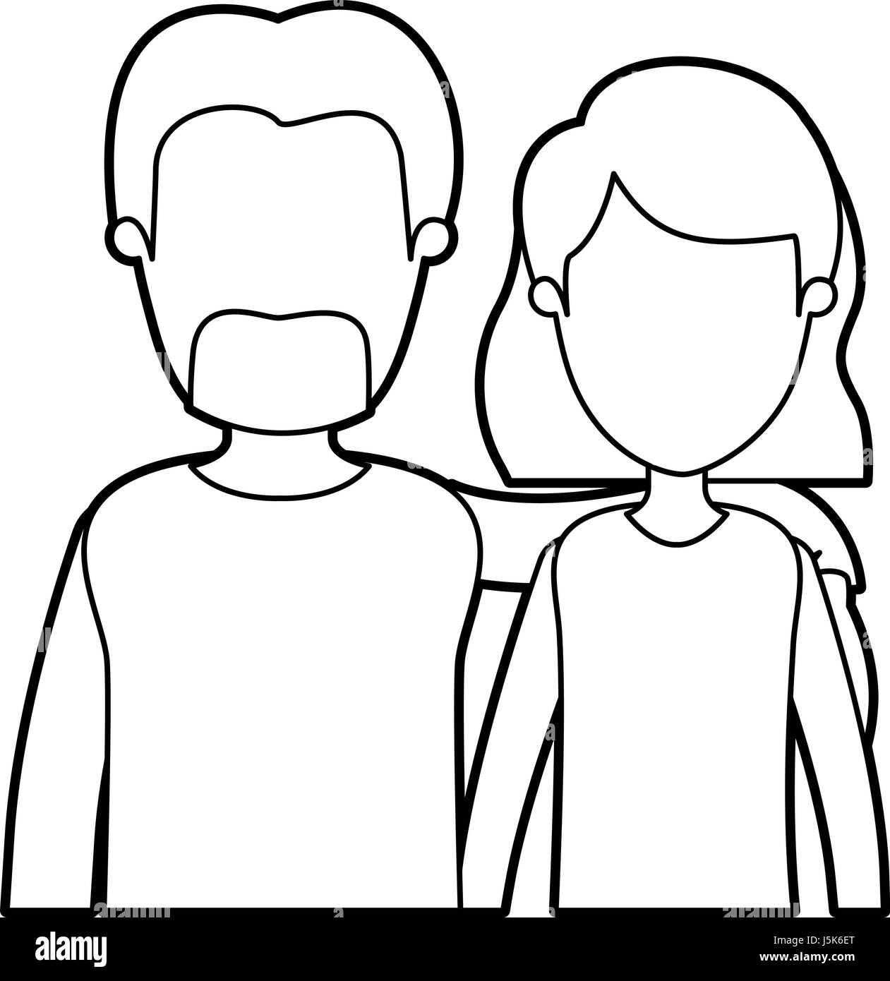 black thick contour caricature faceless half body couple woman with short hair and bearded man - Stock Image