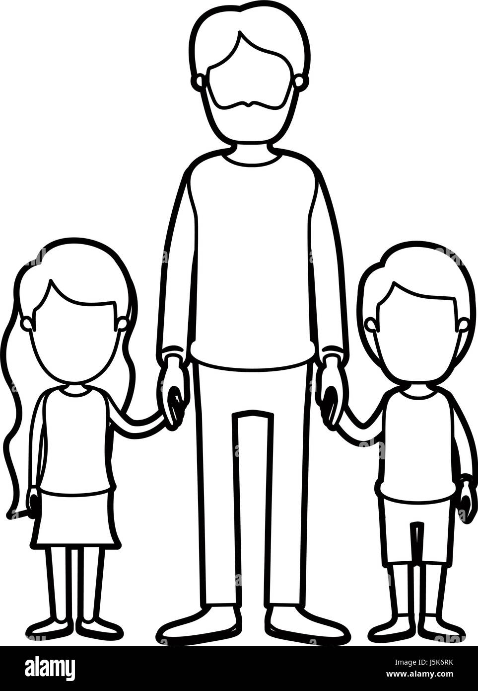 black thick contour caricature faceless full body bearded man taken hand with girl and boy - Stock Image
