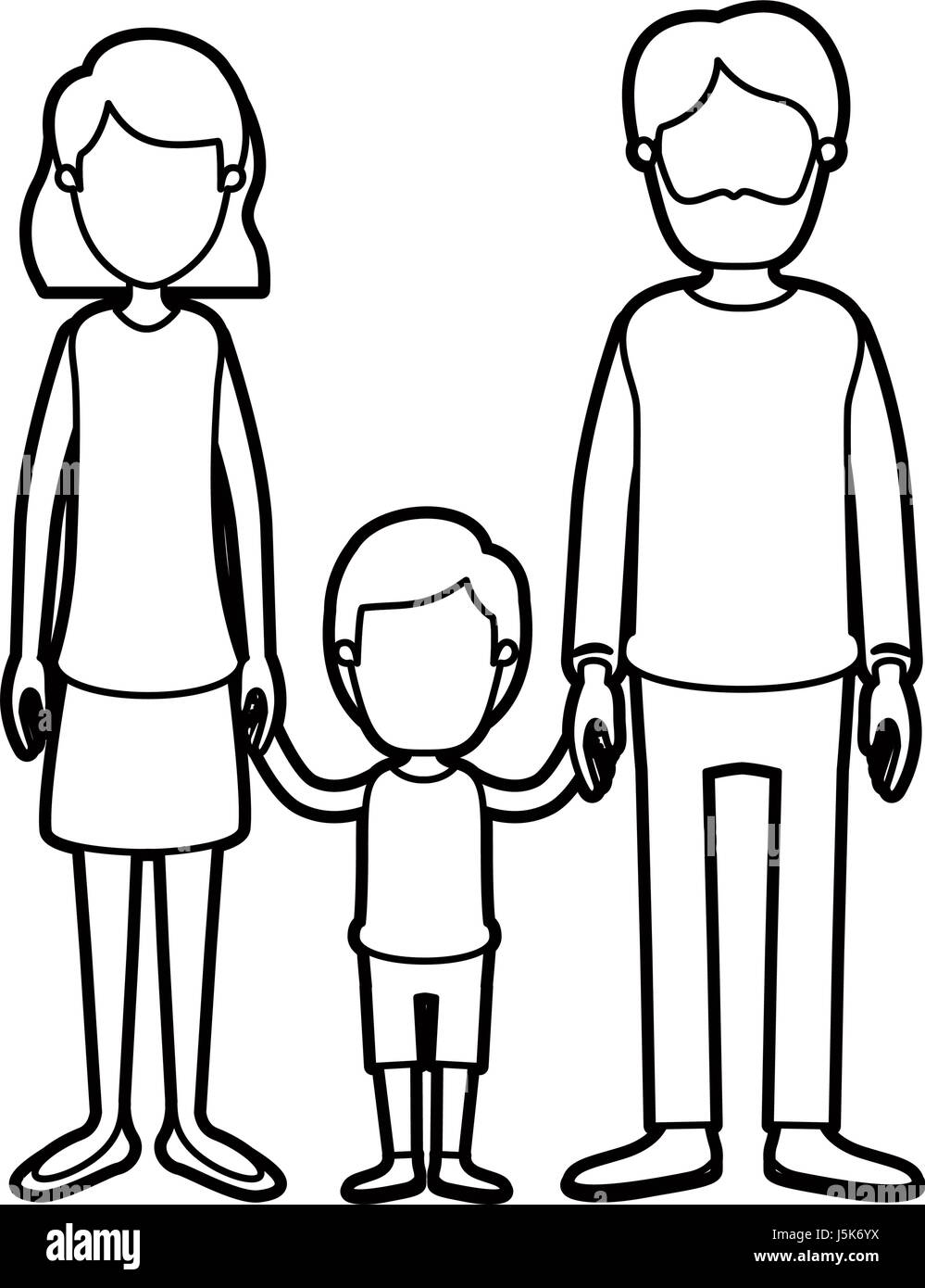 black thick contour caricature faceless family with father bearded and mom with short hair with little boy taken - Stock Image