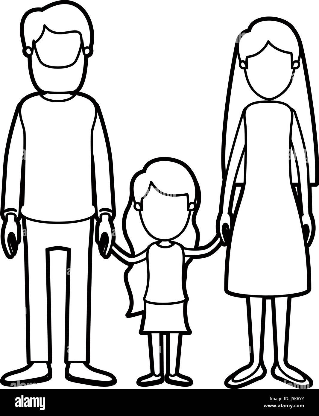black thick contour caricature faceless family with father bearded and mom with long hair with little girl taken - Stock Image