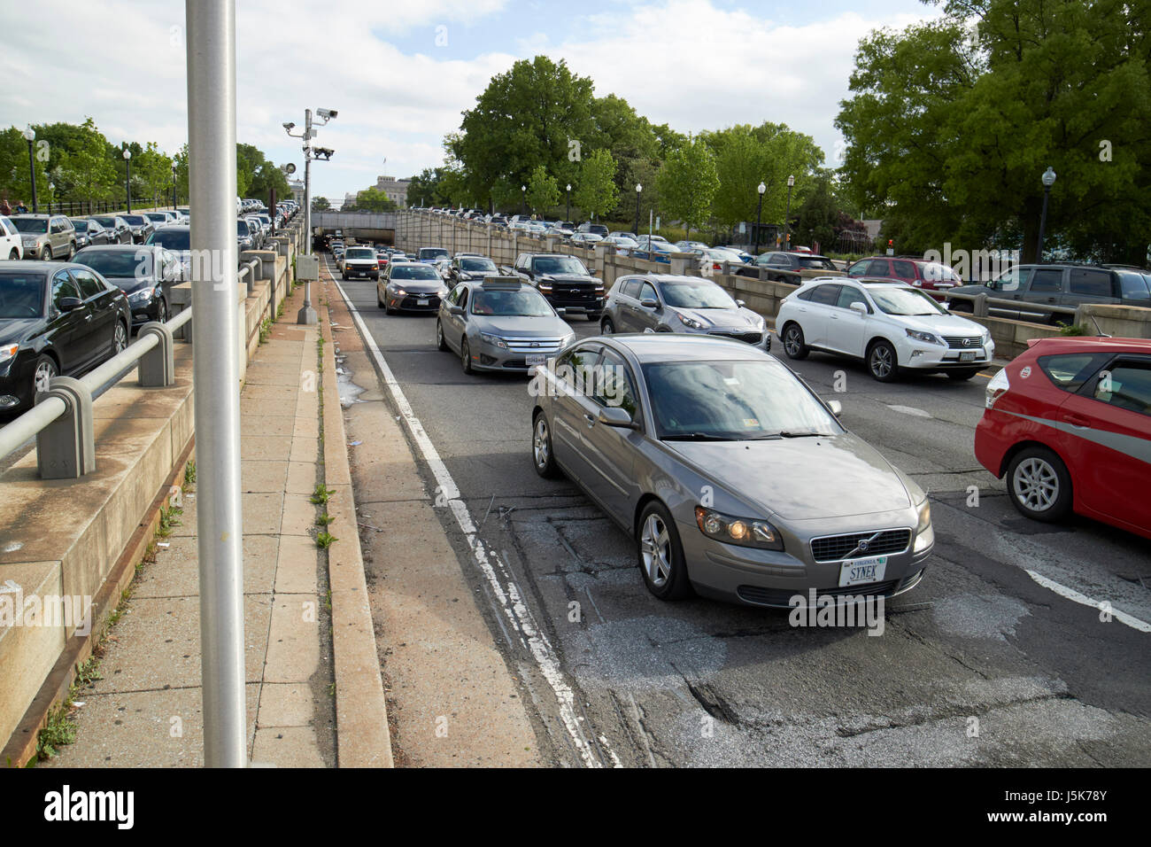 busy traffic on the 12th street expressway under the national mall Washington DC USA - Stock Image