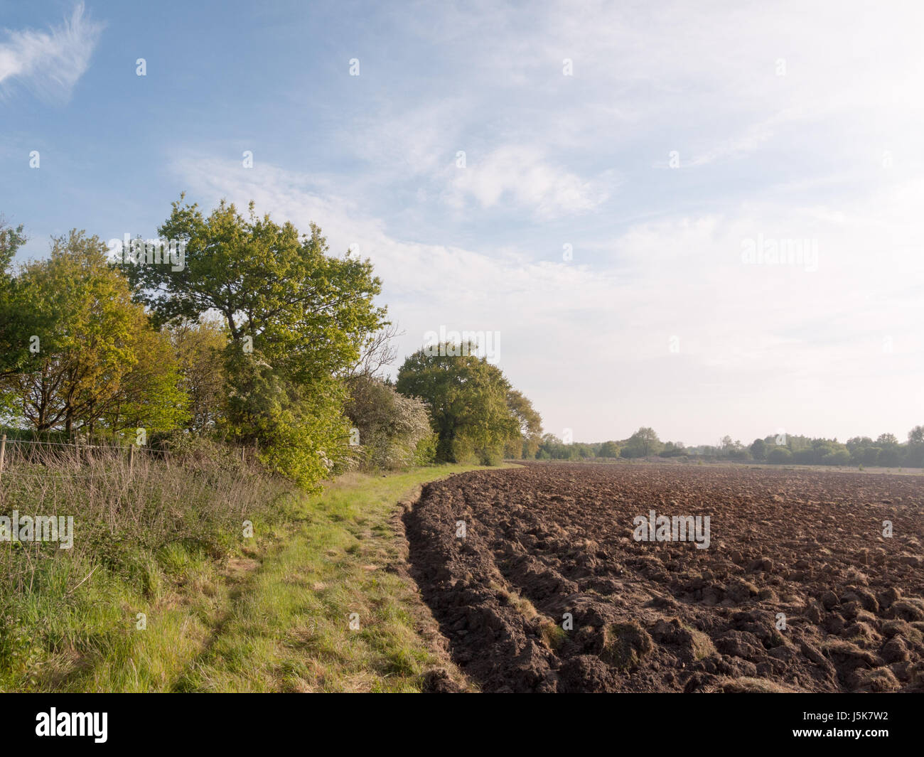 a plowed farm land ready to be sown and for crop to grow starting outside spring lush countryside  peaceful growing - Stock Image