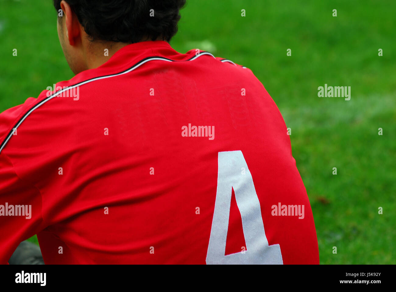 four back backside reverse tricot soccer player footballers kicker exchanged to - Stock Image