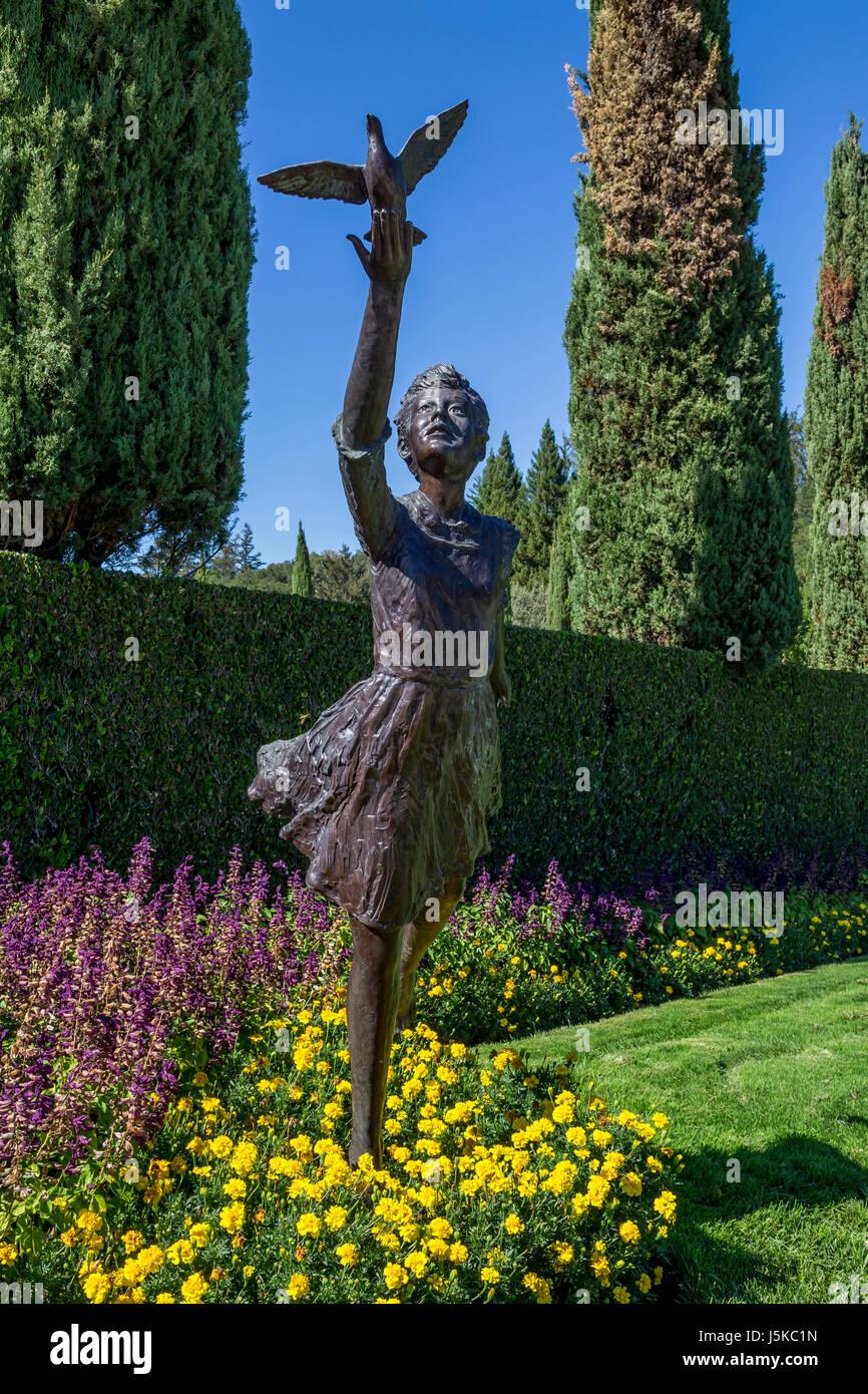 statue, girl and bird, garden, Ferrari,Carano Vineyards and