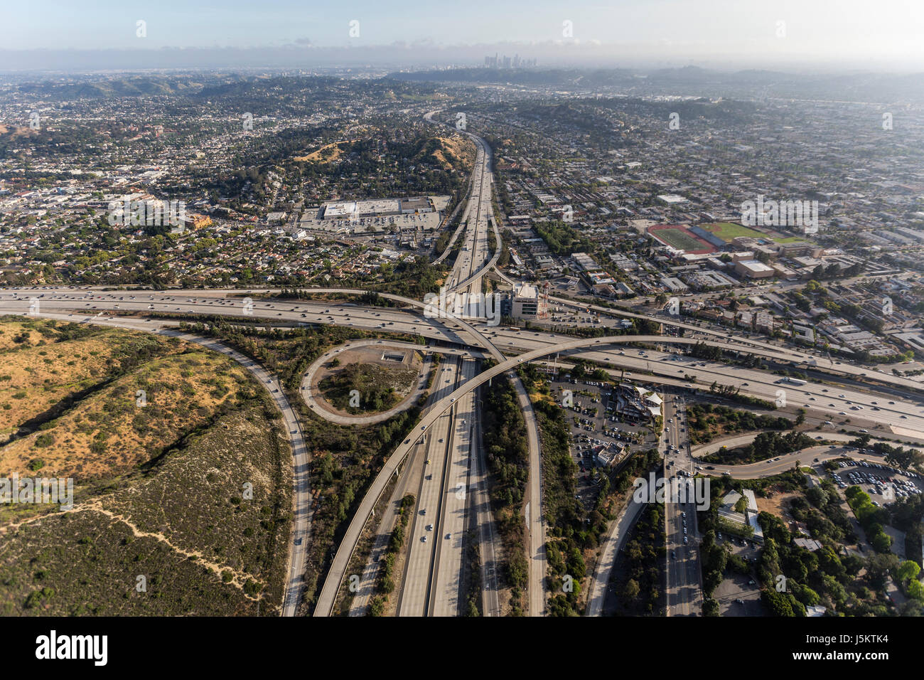 Aerial of the Glendale 2 and Ventura 134 freeway interchange in the Eagle Rock area of Los Angeles, California. - Stock Image