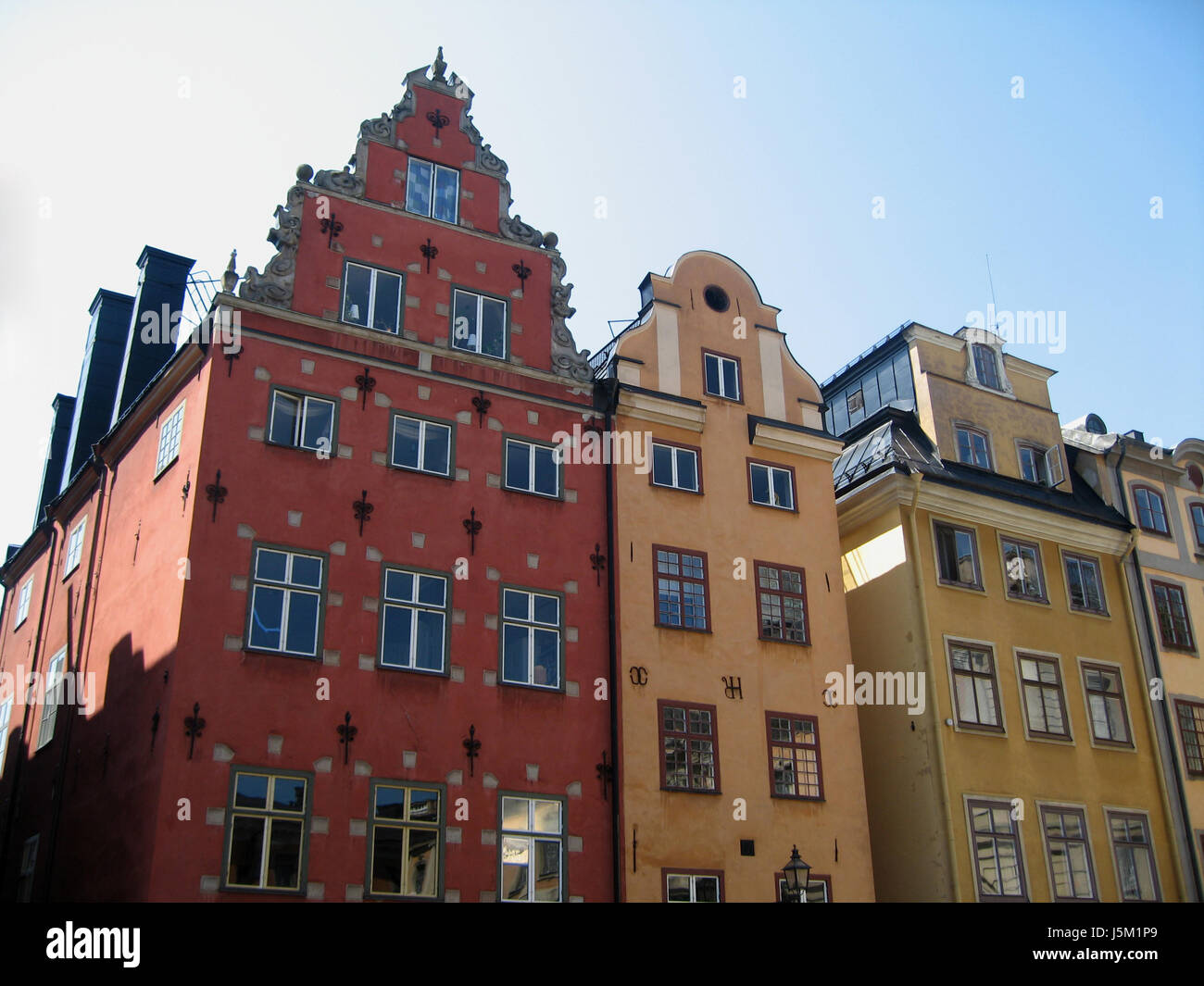 house building houses city town public old town sweden sightseeing square - Stock Image