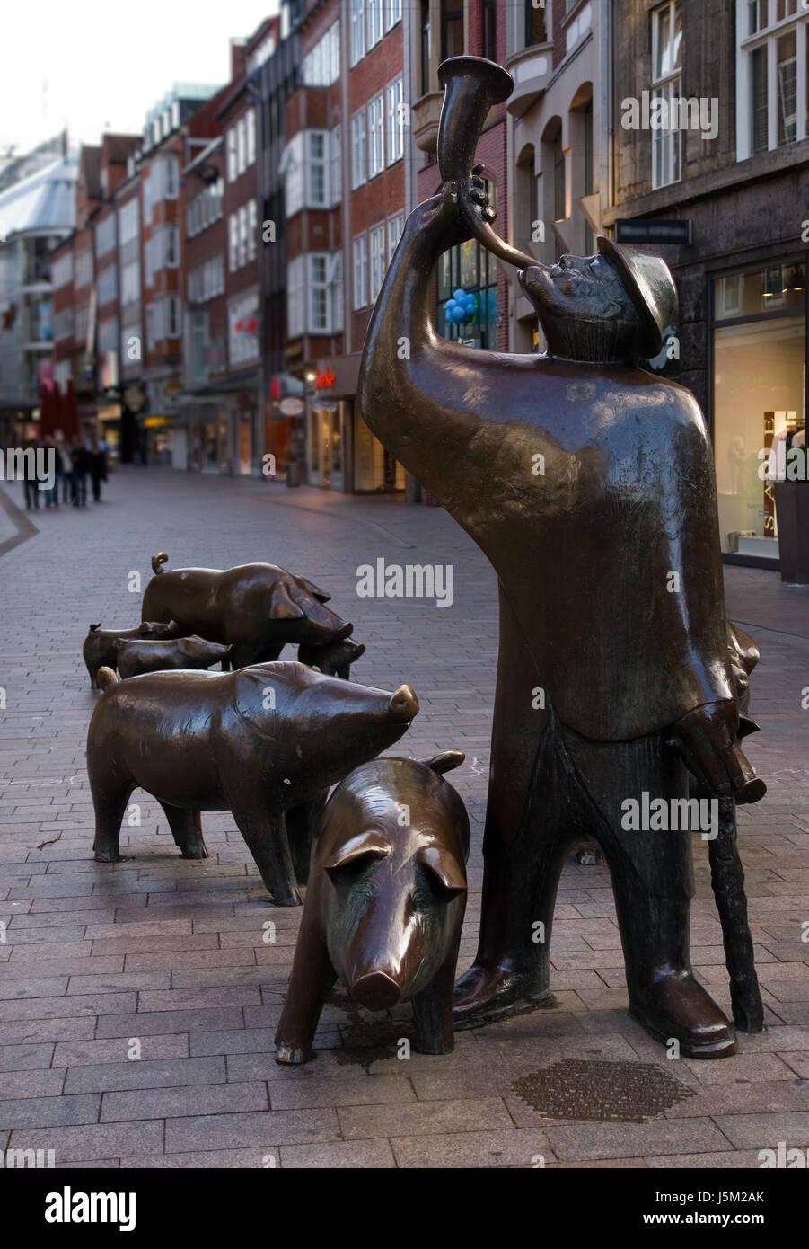 horn germany german federal republic Northern Germany bremen pigs shepherd - Stock Image