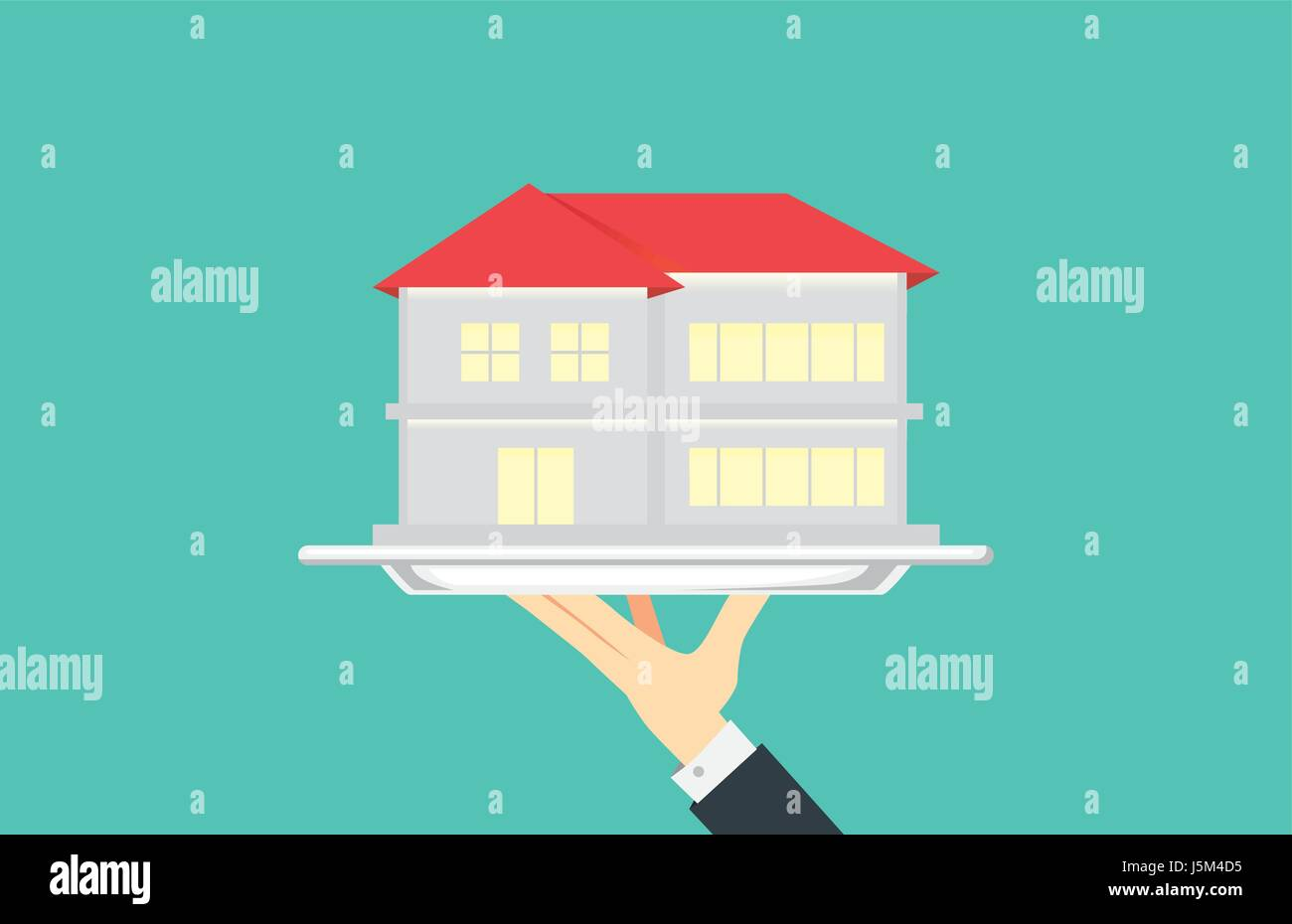 Hand holding house in silver tray. - Stock Vector