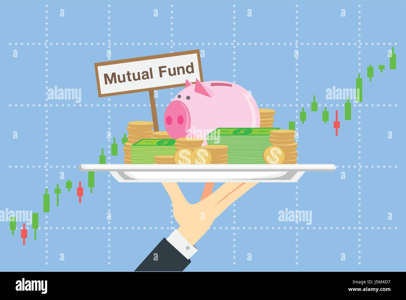 Illustration about saving in mutual funds in catering concept. - Stock Image