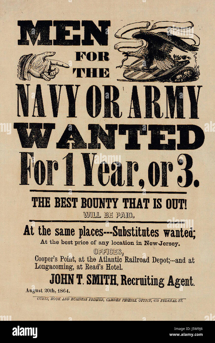 Men for the Army or Navy Wanted for 1 Year, or 3 - The Best Bounty that is out will be paid - American Civil War - Stock Image