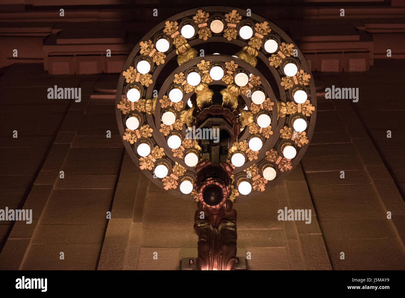 Ornate Early 1900's Union Station Light Fixture - Stock Image