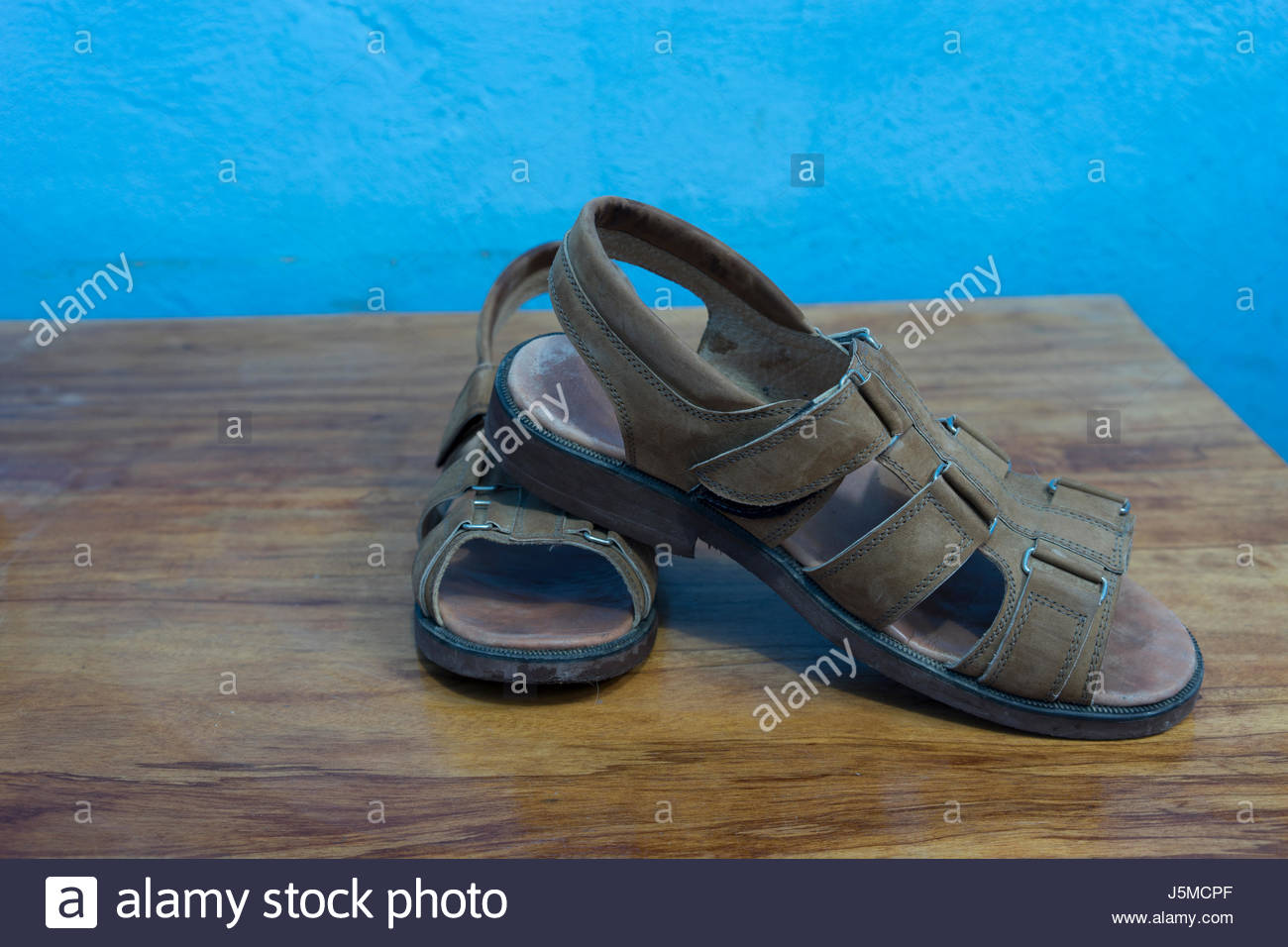 A pair of custom-made sandals from a Nicaraguan shoemaker - Stock Image